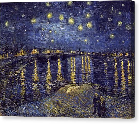 Canvas Print featuring the painting Starry Night Over The Rhone by Van Gogh