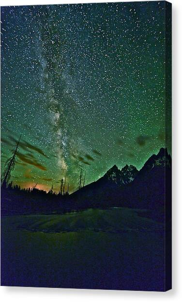Starry Night Over The Tetons Canvas Print