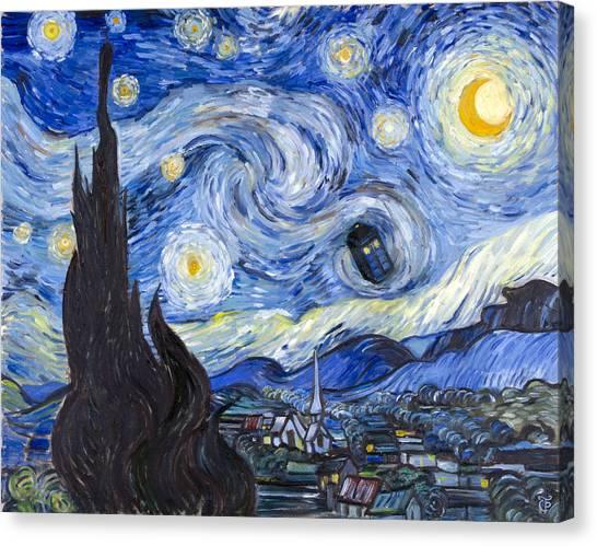 Tardis Canvas Print - Starry Night With Tardis by Theresa Pisani