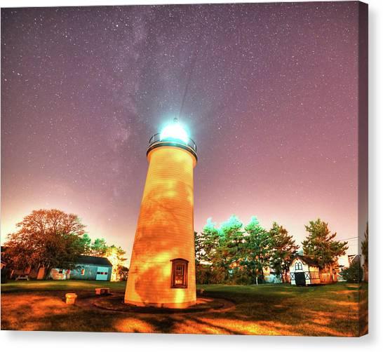 Starry Sky Over The Newburyport Harbor Light Canvas Print