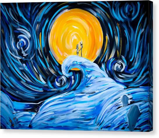 Starry Spiral Hill Night Canvas Print