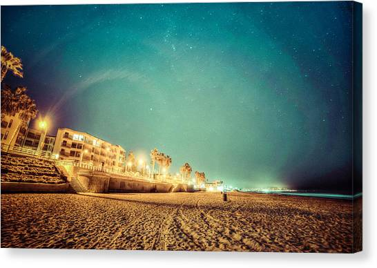 Canvas Print featuring the photograph Starry Starry Pacific Beach by T Brian Jones