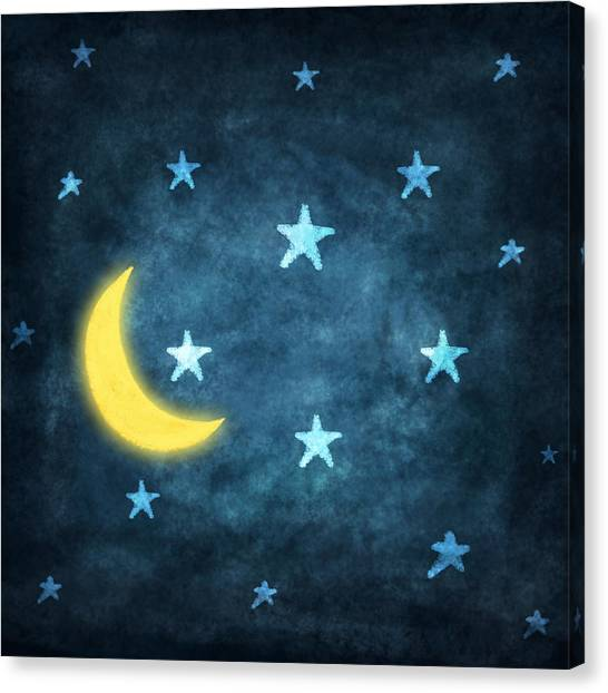 Stars And Moon Drawing With Chalk Canvas Print