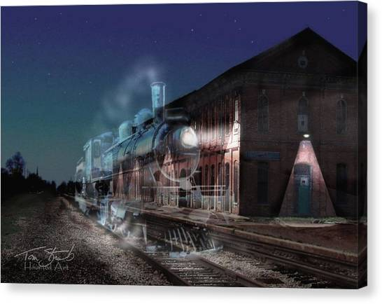 Stars And Station Lights Canvas Print by Tom Straub