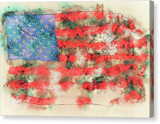 Honor Canvas Print - Stars And Stripes Watercolor by Delphimages Photo Creations