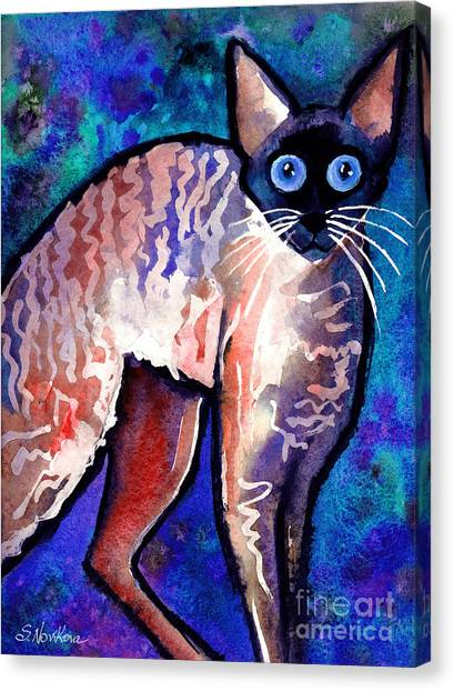Watercolor Pet Portraits Canvas Print - Startled Cornish Rex Cat by Svetlana Novikova