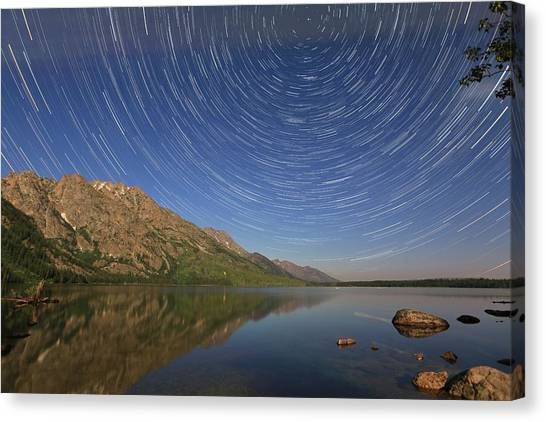Startrails Over Jenny Lake Canvas Print