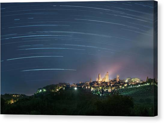 Startrails Over San Gimignano Canvas Print