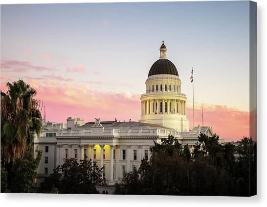 Sacramento State Canvas Print - State Capitol At Sunset by Elizabeth Delgado