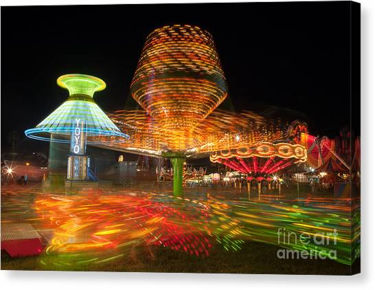 State Fair Rides At Night I Canvas Print