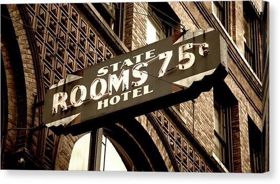 Seattle Seahawks Canvas Print - State Hotel - Seattle by Stephen Stookey