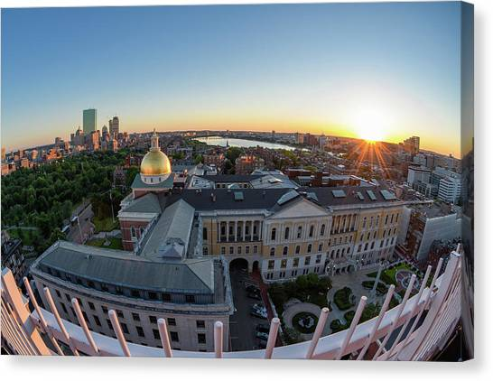 Canvas Print featuring the photograph State House,fisheye View by Michael Hubley