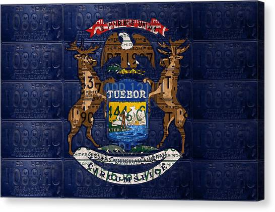 Michigan State University Canvas Print - State Of Michigan Flag Recycled Vintage License Plate Art Version 1 by Design Turnpike