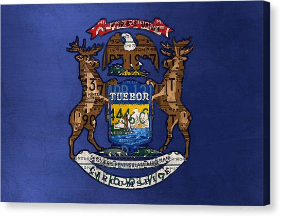Michigan State University Canvas Print - State Of Michigan Flag Recycled Vintage License Plate Art Version 2 by Design Turnpike