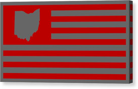 Cincinnati Reds Canvas Print - State Of Ohio - American Flag by War Is Hell Store
