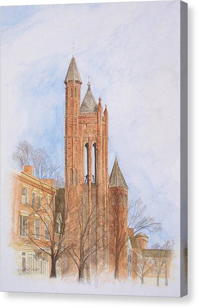 Canvas Print featuring the painting State Street Church by Dominic White