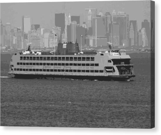 The City That Never Sleeps Canvas Print - Staten Island Ferry Bw16 by Scott Kelley