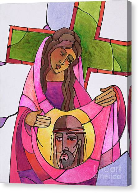 Stations Of The Cross - 06 St. Veronica Wipes The Face Of Jesus - Mmvew Canvas Print