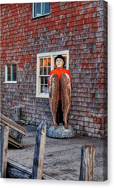 Nova Scotia Canvas Print - Statue Of Fisherman Holding Cod Peggy's Cove by Carol Leigh