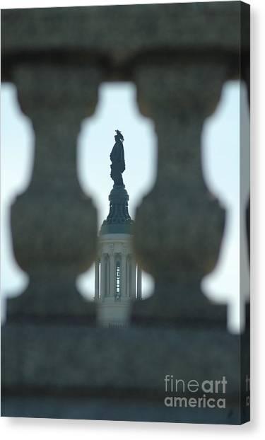Statue Of Freedom Through Railing Canvas Print