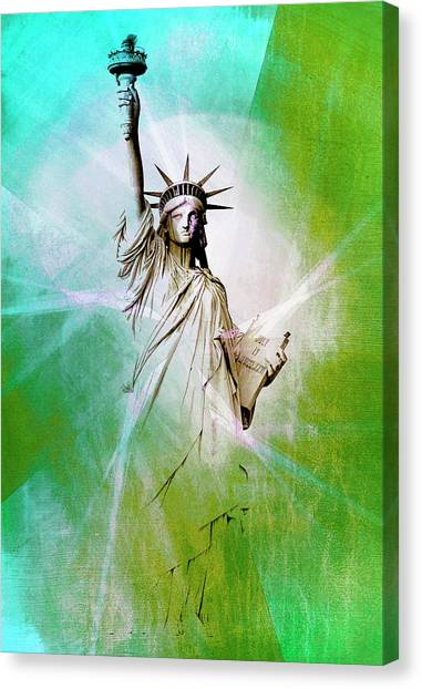 Contemporary Art Canvas Print - Statue Of Liberty by Contemporary Art