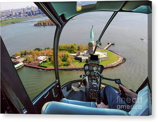 Statue Of Liberty Helicopter Canvas Print