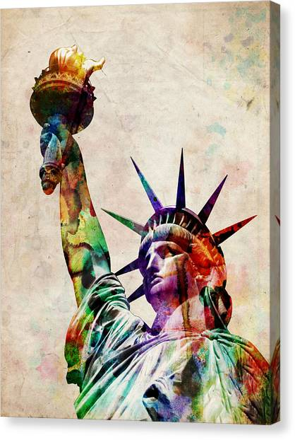 Central Park Canvas Print - Statue Of Liberty by Michael Tompsett