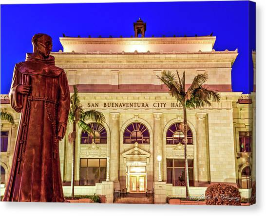 Statue Of Saint Junipero Serra In Front Of San Buenaventura City Hall Canvas Print