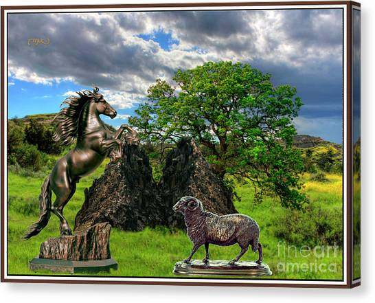 Statues In The Park Canvas Print by Pemaro