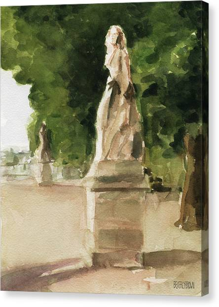 French Impressionist Canvas Print - Statues Jardin Du Luxembourg by Beverly Brown