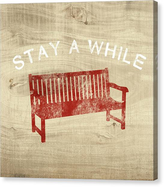 Red Chair Canvas Print - Stay A While- Art By Linda Woods by Linda Woods