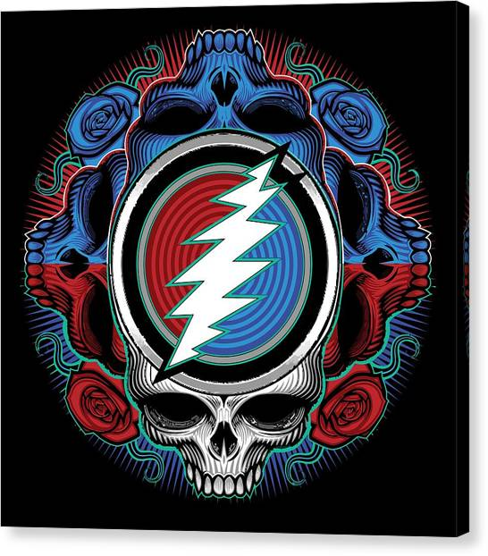 Grateful Dead Canvas Print - Steal Your Face - Ilustration by The Bear