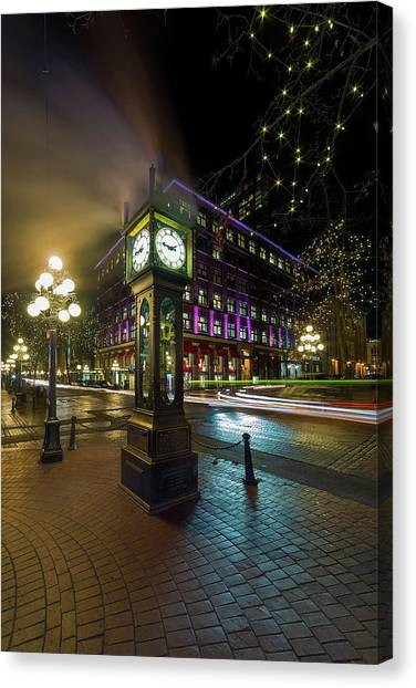 Canvas Print - Steam Clock In Gastown Vancouver Bc At Night by David Gn