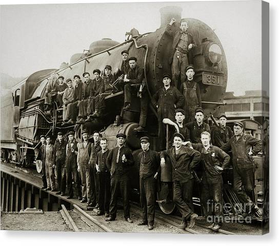 Steam Engine 351 On Turntable Coxton Yards Coxton Pennsylvania Early 1900s Canvas Print