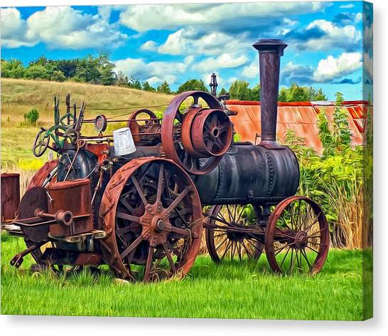 Steam Tractor Canvas Print - Steam Powered Tractor - Paint by Steve Harrington