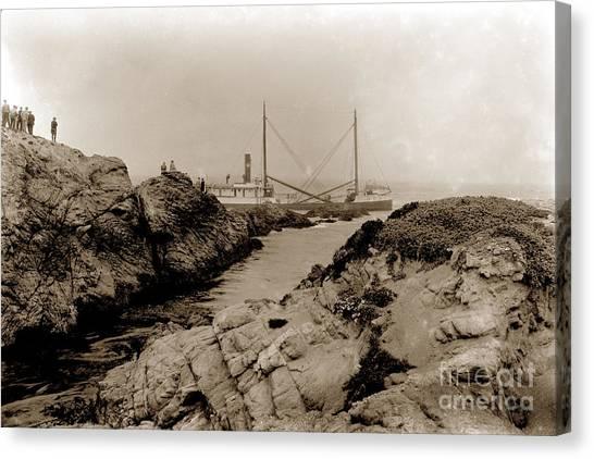Steam Schooner S S J. B. Stetson, Ran Aground At Cypress Point, Sep. 1934 Canvas Print