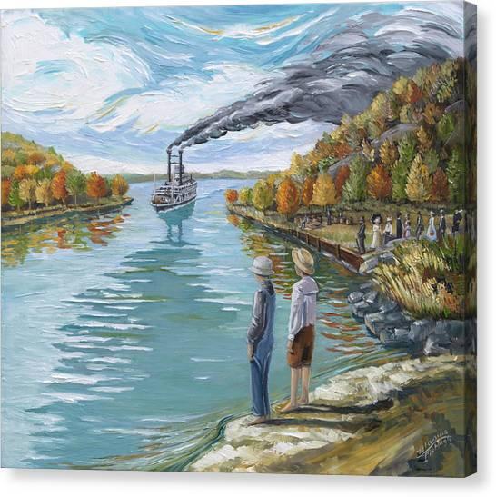 Steamboat Around The Bend Canvas Print by Paula Blasius McHugh