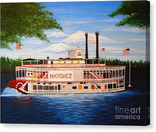 Steamboat On The Mississippi Canvas Print