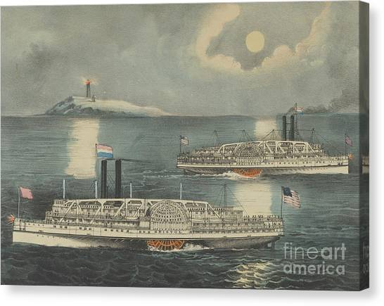 Currier And Ives Canvas Print - Steamboats Passing At Midnight On Long Island Sound by Currier and Ives