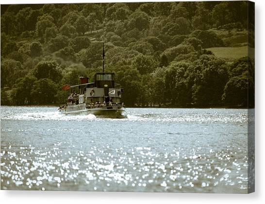 Steaming Across The Lake Canvas Print by Andy Smy