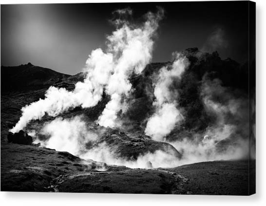 Canvas Print featuring the photograph Steaming Iceland Black And White Landscape by Matthias Hauser