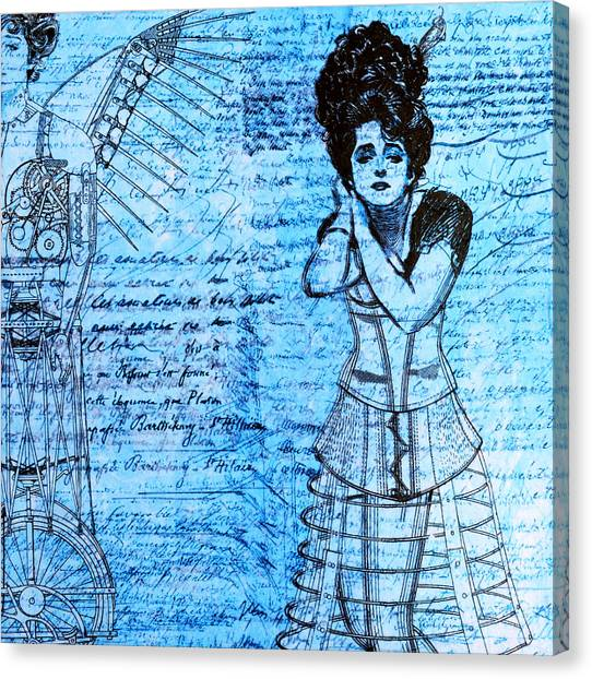 Automaton Canvas Print - Steampunk Girls In Blues by Nikki Marie Smith