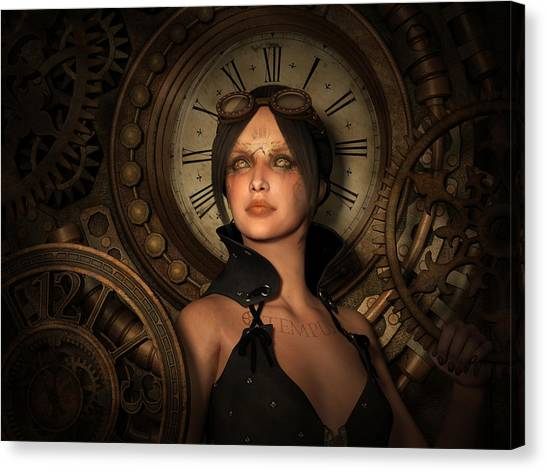 Clockwork Orange Canvas Print - Steampunk Time Keeper by Britta Glodde