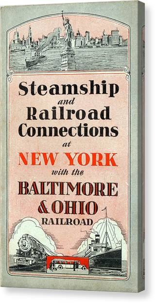 Steamship And Railroad Connections At New York Canvas Print
