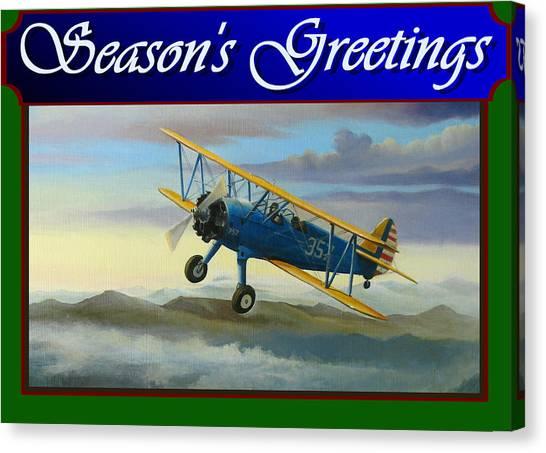 Stearman Christmas Card Canvas Print