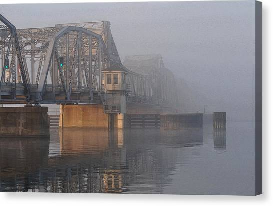 Steel Bridge In Fog Canvas Print