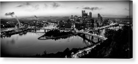 Carnegie Mellon University Canvas Print - Steel City Dawn - Bw by Stephen Stookey