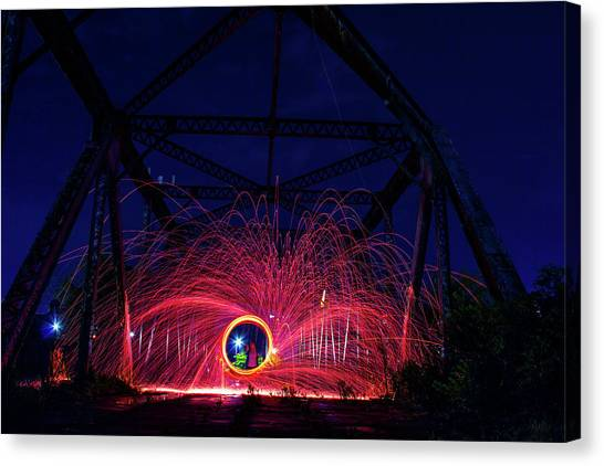Steel Wool Spinner Canvas Print