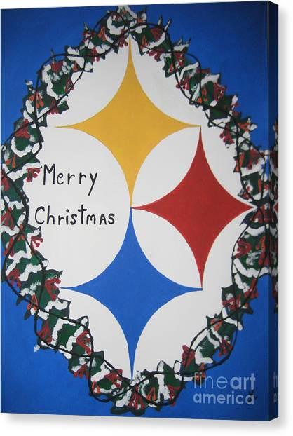Canvas Print - Steelers Christmas Card by Jeffrey Koss
