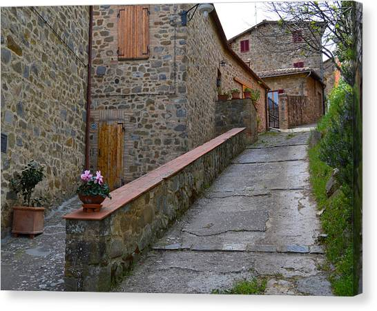 Steep Street In Montalcino Italy Canvas Print